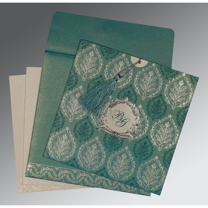 TEAL BLUE SHIMMERY UNIQUE THEMED - FOIL STAMPED WEDDING CARD : CRU-8249D - IndianWeddingCards