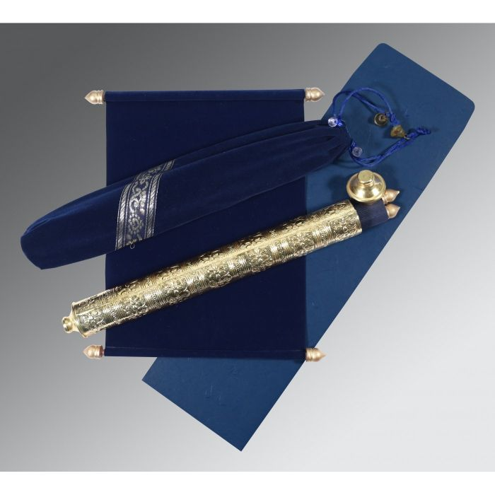 NAVY BLUE VELVET WEDDING CARD : CSC-5005F - IndianWeddingCards