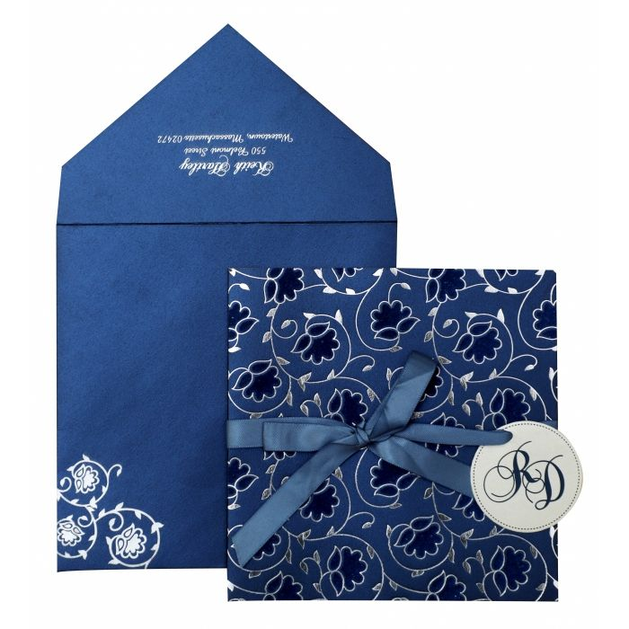 BLUE WHITE SHIMMERY FLORAL THEMED - FOIL STAMPED WEDDING INVITATION : C-839 - 123WeddingCards