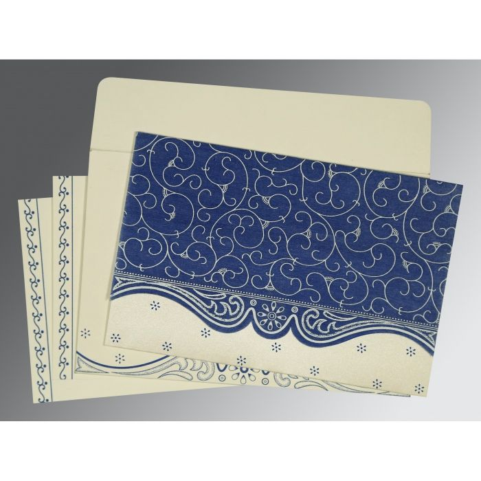 COBALT BLUE MATTE EMBOSSED WEDDING INVITATION : W-8221C - 123WeddingCards