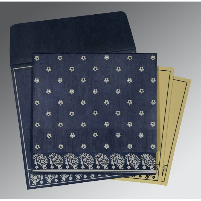 BLUE WOOLY FLORAL THEMED - SCREEN PRINTED WEDDING CARD : CSO-8218K - IndianWeddingCards