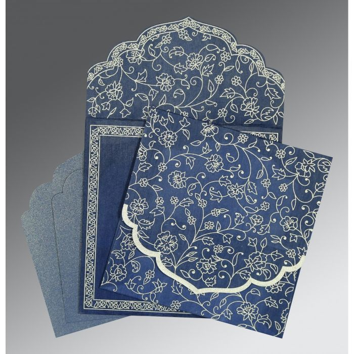 COBALT BLUE WOOLY FLORAL THEMED - SCREEN PRINTED WEDDING INVITATION : CW-8211P - IndianWeddingCards