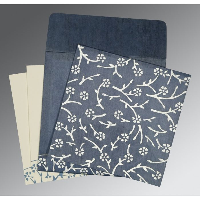 SMOKE BLUE WOOLY FLORAL THEMED - SCREEN PRINTED WEDDING INVITATION : CW-8216D - IndianWeddingCards