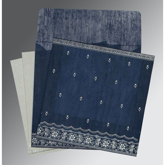 NAVY BLUE WOOLY FOIL STAMPED WEDDING CARD : CD-8242J - IndianWeddingCards