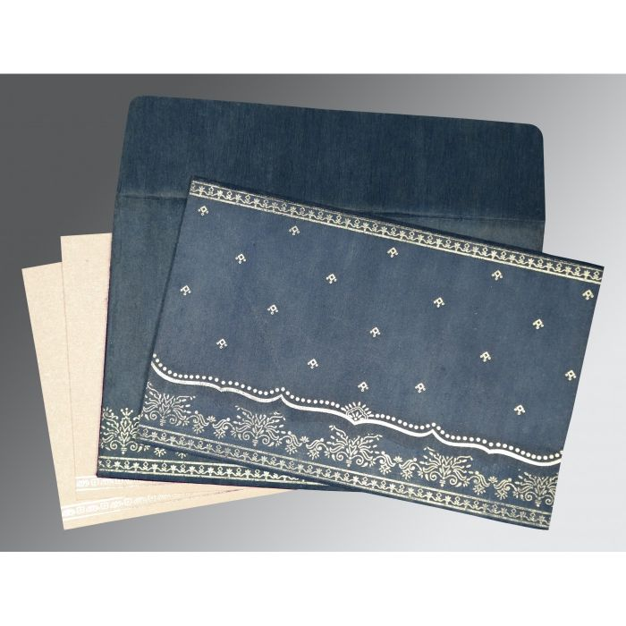SMOKE BLUE WOOLY FOIL STAMPED WEDDING INVITATION : CIN-8241P - IndianWeddingCards