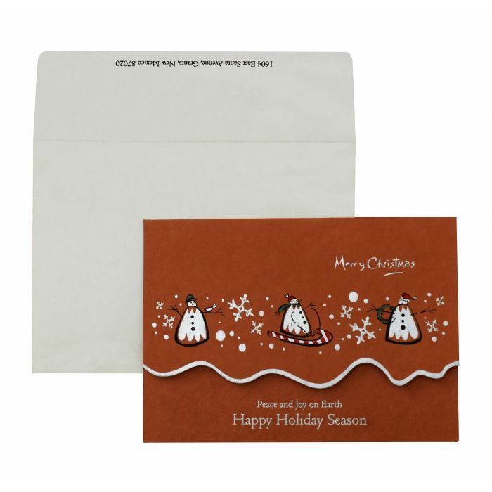 BRICK RED HANDMADE COTTON UNIQUE THEMED - SCREEN PRINTED HOLIDAY CARDS : H-845 - 123WeddingCards