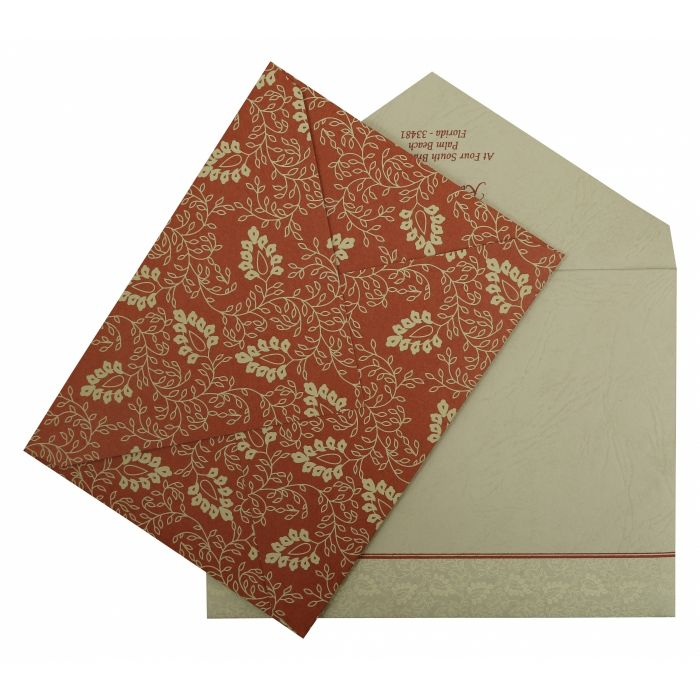 BRICK RED MATTE PAISLEY THEMED - SCREEN PRINTED WEDDING INVITATION : G-811B - 123WeddingCards
