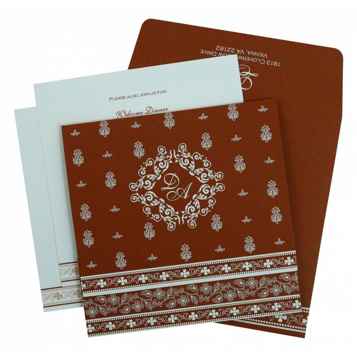BRICK RED MATTE SCREEN PRINTED WEDDING INVITATION : G-808D - 123WeddingCards