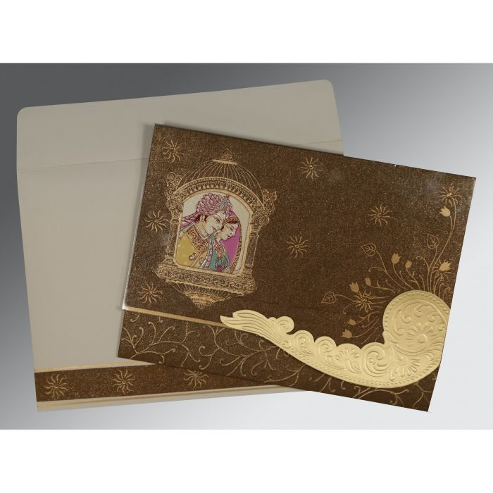 BROWN HANDMADE SHIMMER EMBOSSED WEDDING CARD : G-1405 - 123WeddingCards