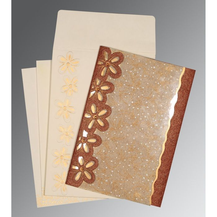DESERT SAND BROWN HANDMADE SHIMMER FLORAL THEMED - SCREEN PRINTED WEDDING CARD : C-1439 - 123WeddingCards