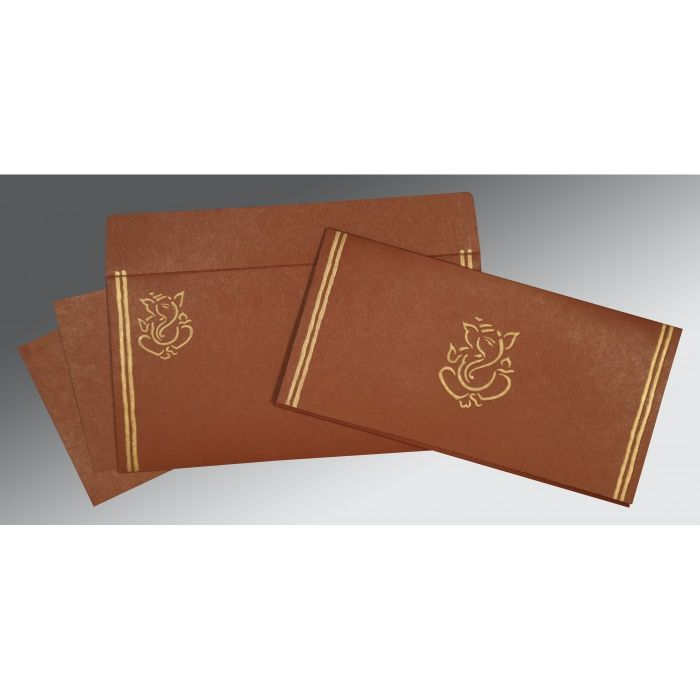 MEDIUM BROWN MATTE EMBOSSED WEDDING CARD : IN-2182 - 123WeddingCards