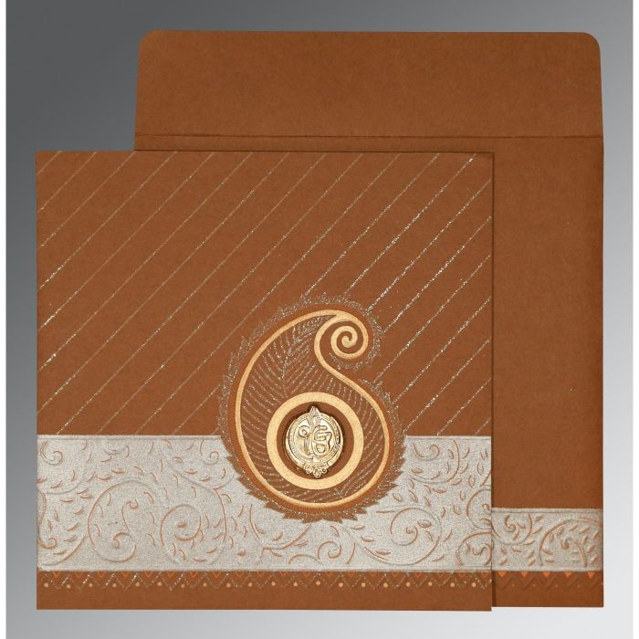 DARK ORANGE MATTE EMBOSSED WEDDING CARD : CRU-1178 - IndianWeddingCards