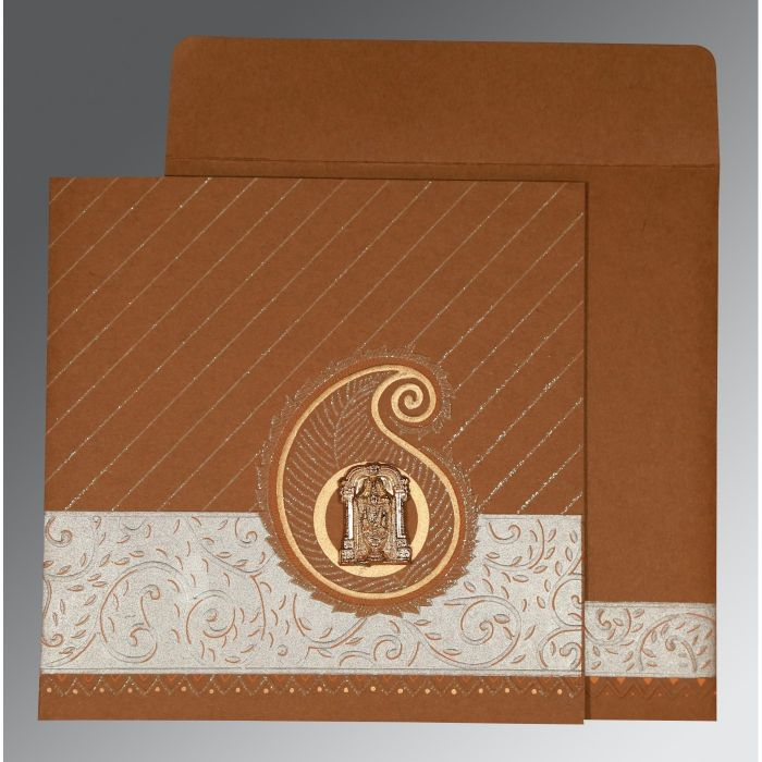 DARK ORANGE MATTE EMBOSSED WEDDING CARD : CSO-1178 - IndianWeddingCards