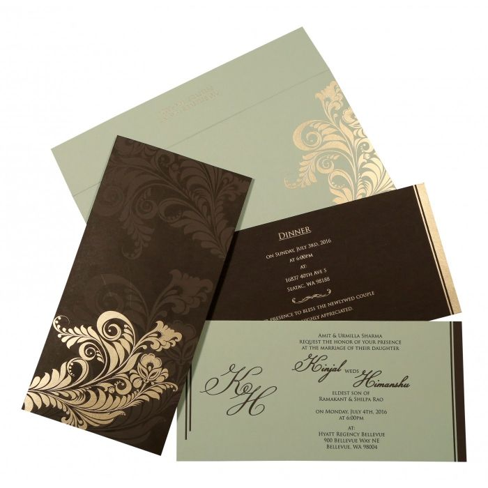 DARK BROWN MATTE FLORAL THEMED - SCREEN PRINTED WEDDING CARD : CG-8259C - IndianWeddingCards