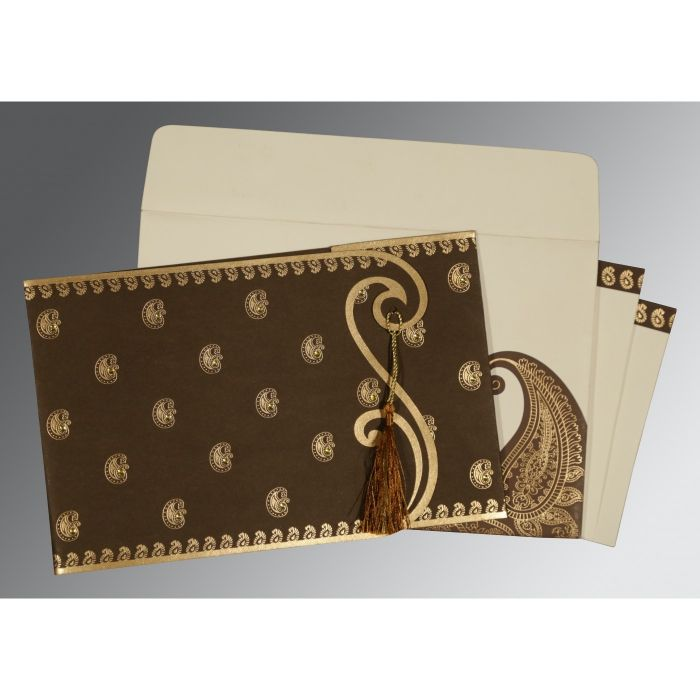 BROWN MATTE PAISLEY THEMED - SCREEN PRINTED WEDDING INVITATION : CG-8252F - IndianWeddingCards
