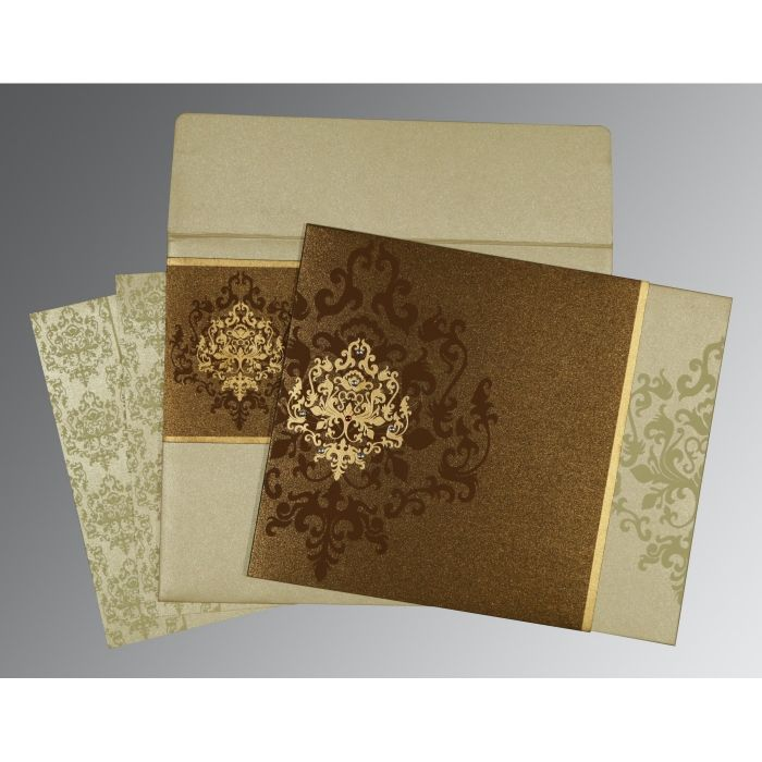 BROWN SHIMMERY DAMASK THEMED - SCREEN PRINTED WEDDING CARD : CG-8253A - IndianWeddingCards