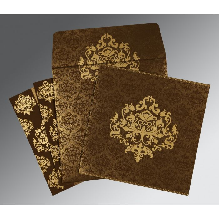 BROWN SHIMMERY DAMASK THEMED - SCREEN PRINTED WEDDING CARD : CSO-8254F - IndianWeddingCards
