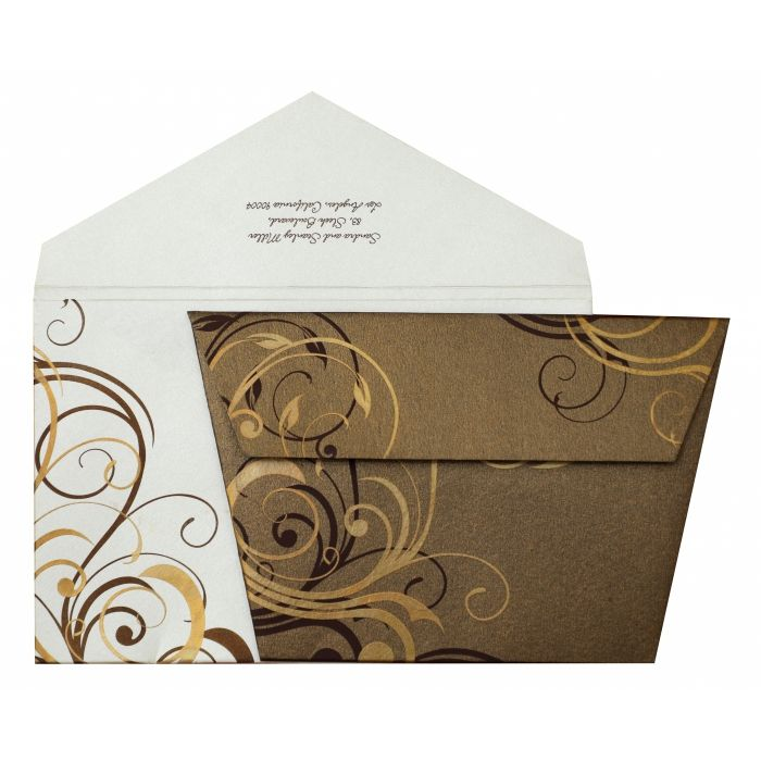 BROWN SHIMMERY FLORAL THEMED - SCREEN PRINTED WEDDING INVITATION : CW-834 - IndianWeddingCards