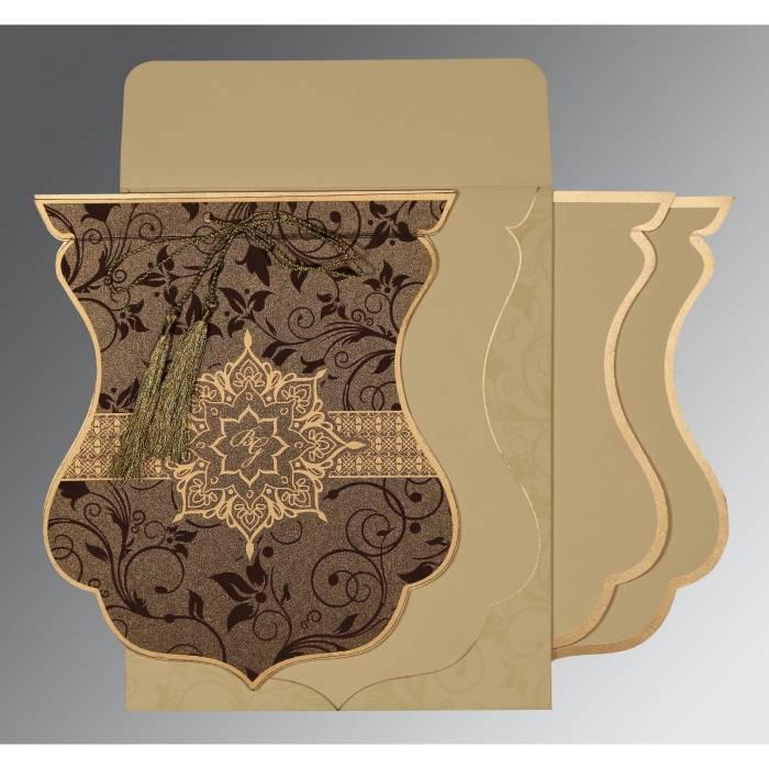 TOBACCO BROWN SHIMMERY FLORAL THEMED - SCREEN PRINTED WEDDING CARD : CRU-8229C - IndianWeddingCards