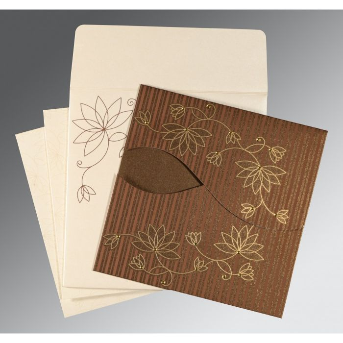 BROWN SHIMMERY FLORAL THEMED - SCREEN PRINTED WEDDING INVITATION : CRU-8251F - IndianWeddingCards