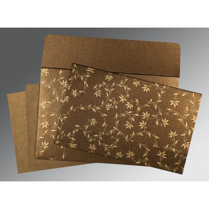BROWN SHIMMERY FLORAL THEMED - SCREEN PRINTED WEDDING INVITATION : W-8226N - 123WeddingCards