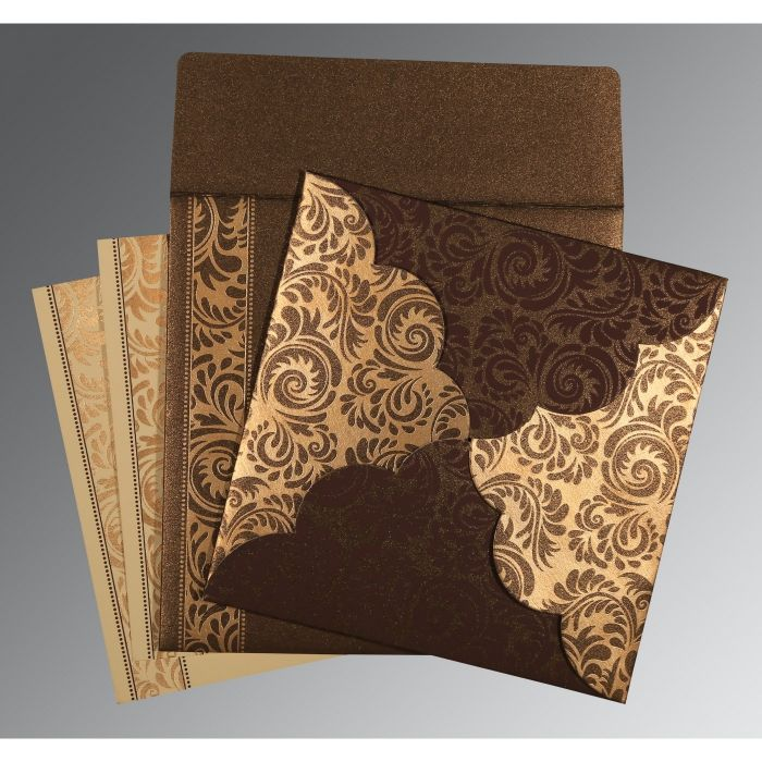 DARK BROWN SHIMMERY FLORAL THEMED - SCREEN PRINTED WEDDING CARD : CW-8235K - IndianWeddingCards