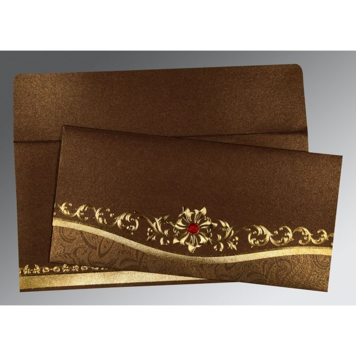 METALLIC BROWN SHIMMERY FOIL STAMPED WEDDING INVITATION : CS-1499 - IndianWeddingCards