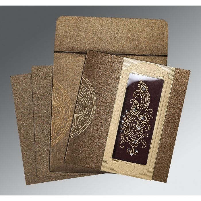 TURFTAN SHIMMERY PAISLEY THEMED - FOIL STAMPED WEDDING INVITATION : CW-8230M - IndianWeddingCards