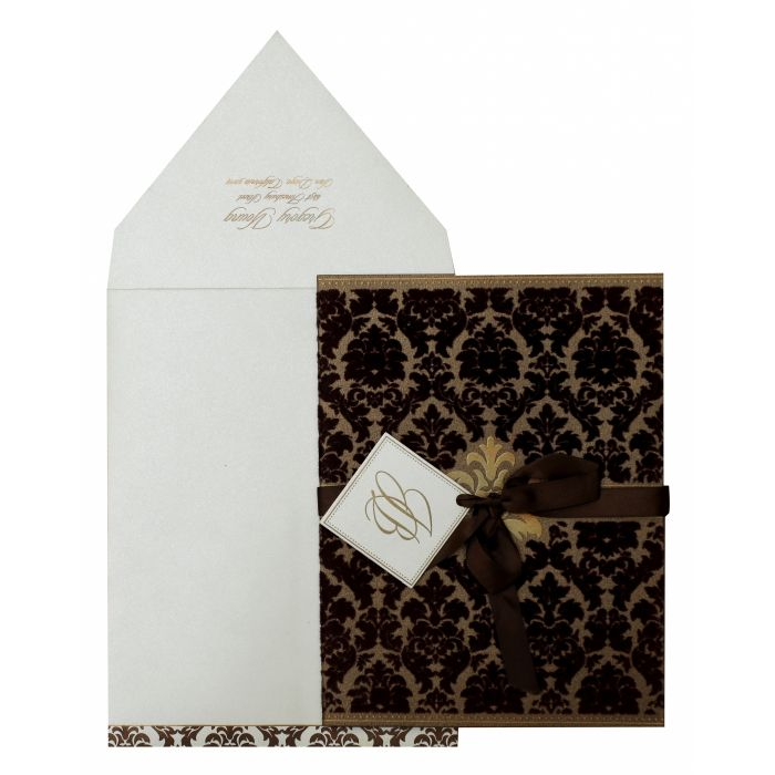 BROWN SHIMMERY PAISLEY THEMED - SCREEN PRINTED WEDDING INVITATION : CW-838 - IndianWeddingCards
