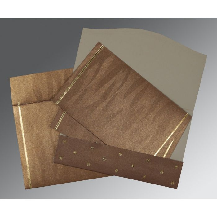 LIGHT BROWN SHIMMERY POCKET THEMED - FOIL STAMPED WEDDING CARD : C-1413 - 123WeddingCards