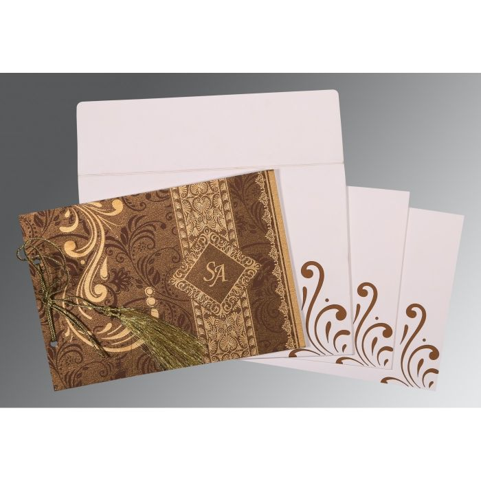 CHOCOLATE SHIMMERY SCREEN PRINTED WEDDING CARD : CD-8223O - IndianWeddingCards