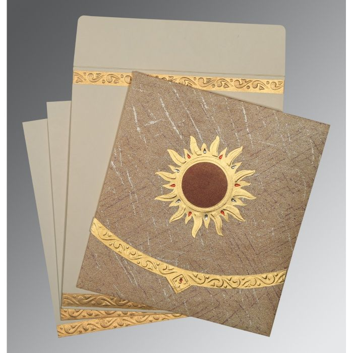 DESERT SAND WOOLY EMBOSSED WEDDING CARD : CD-1225 - IndianWeddingCards
