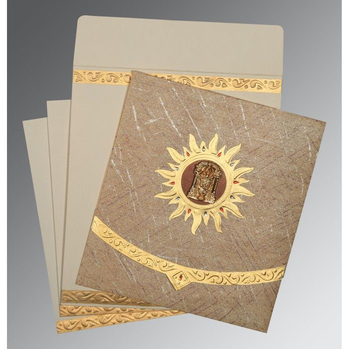 DESERT SAND WOOLY EMBOSSED WEDDING CARD : SO-1225 - 123WeddingCards