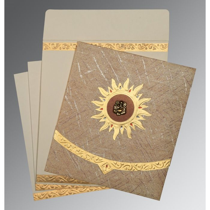 DESERT SAND WOOLY EMBOSSED WEDDING CARD : CW-1225 - IndianWeddingCards