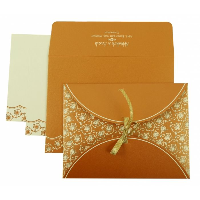 COPPER SHIMMERY BUTTERFLY THEMED - SCREEN PRINTED WEDDING INVITATION : CG-821C - IndianWeddingCards