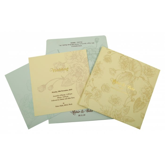 CREAM MATTE BOX THEMED - OFFSET PRINTED WEDDING INVITATION : CI-1861 - IndianWeddingCards