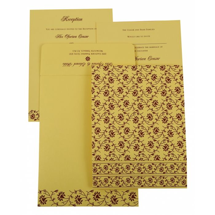 CREAM SHIMMERY FLORAL THEMED - SCREEN PRINTED WEDDING INVITATION : IN-822G - 123WeddingCards