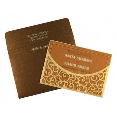 CREAM SHIMMERY LASER CUT WEDDING CARD : D-1587 - 123WeddingCards