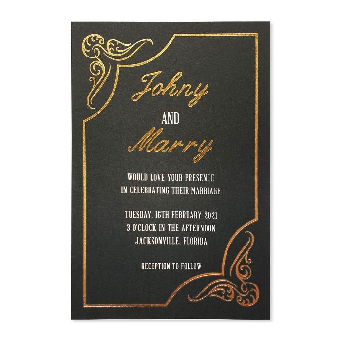 BLACK GOLD MATTE FOIL STAMPED WEDDING INVITATION : PERIPHERY - 123WeddingCards