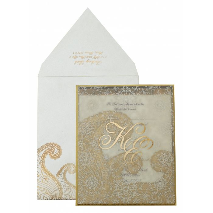 OFF-WHITE GOLD SHIMMERY PAISLEY THEMED - SCREEN PRINTED WEDDING INVITATION : CG-829 - IndianWeddingCards