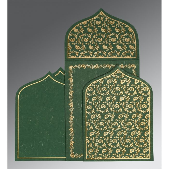DARK GREEN HANDMADE SILK PAISLEY THEMED - GLITTER WEDDING INVITATION : W-8208L - 123WeddingCards