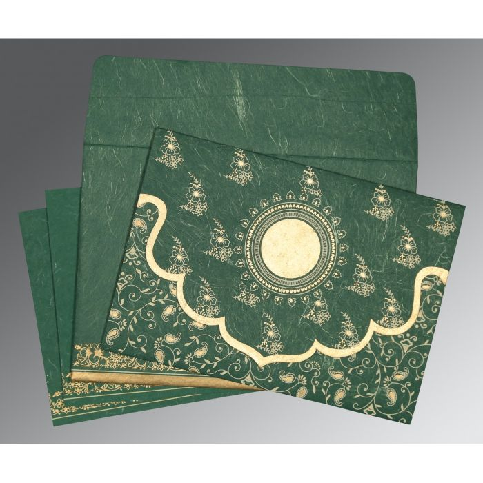 DARK SPRING GREEN HANDMADE SILK SCREEN PRINTED WEDDING INVITATION : D-8207L - 123WeddingCards