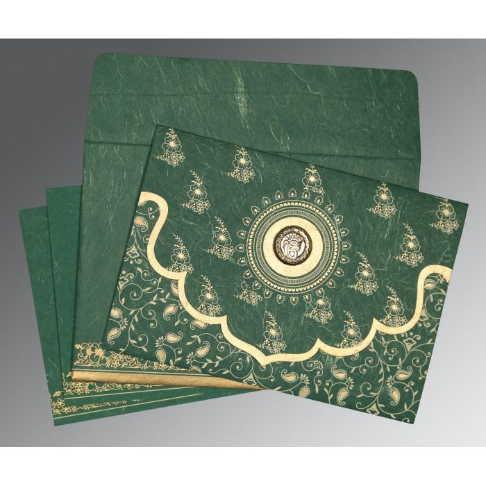 DARK SPRING GREEN HANDMADE SILK SCREEN PRINTED WEDDING INVITATION : RU-8207L - 123WeddingCards