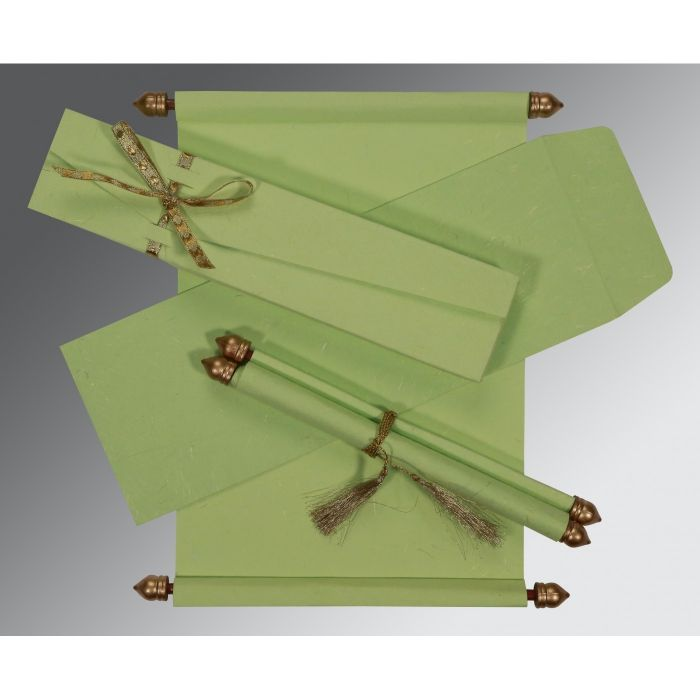 SMOKE GREEN HANDMADE SILK WEDDING CARD : CSC-5001L - IndianWeddingCards