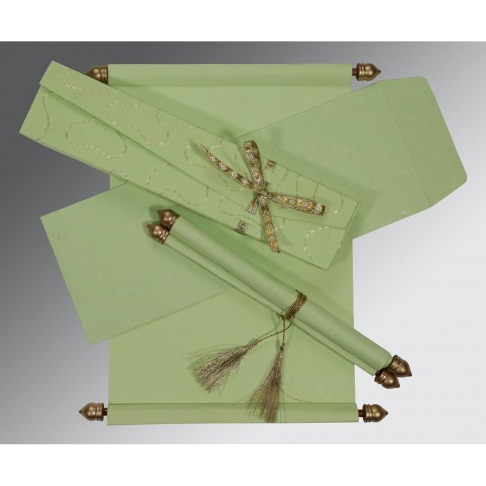 PARROT GREEN HANDMADE SILK WEDDING CARD : SC-5002K - 123WeddingCards