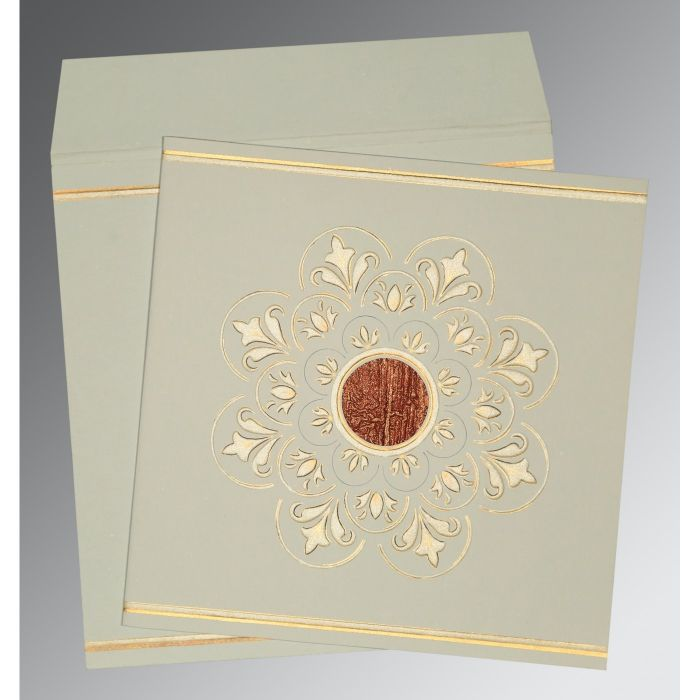 OFF-WHITE MATTE BOX THEMED - EMBOSSED WEDDING CARD : D-1190 - 123WeddingCards
