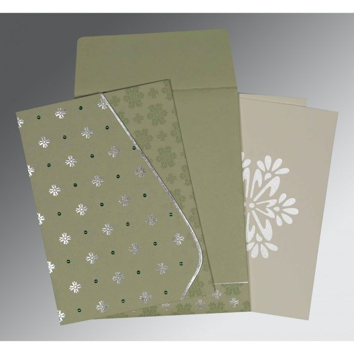 SAGE GREEN MATTE FLORAL THEMED - FOIL STAMPED WEDDING INVITATION : CI-8237I - IndianWeddingCards