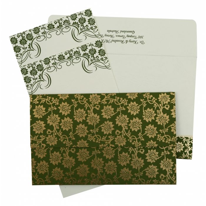GREEN MATTE FLORAL THEMED - SCREEN PRINTED WEDDING INVITATION : SO-810D - 123WeddingCards