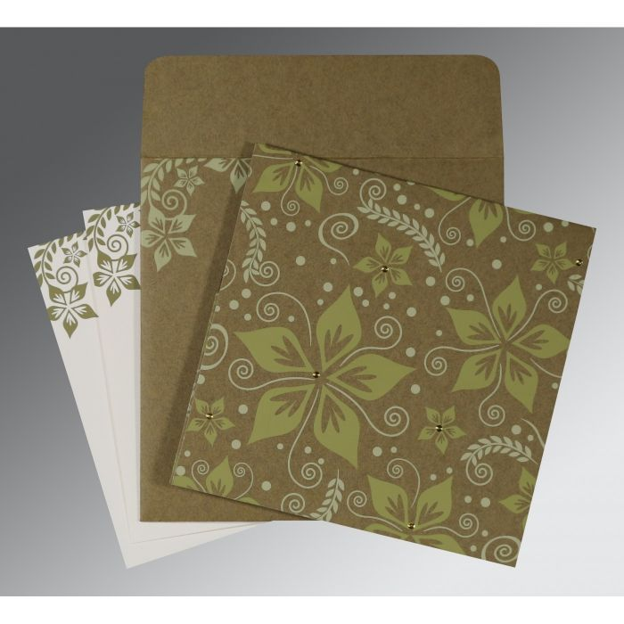 OLIVE GREEN MATTE FLORAL THEMED - SCREEN PRINTED WEDDING INVITATION : D-8240F - 123WeddingCards