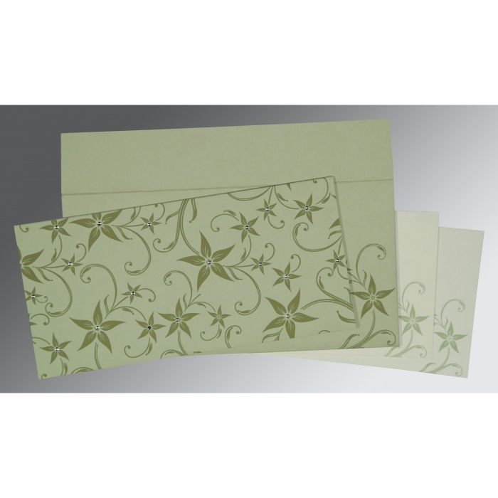 SAGE GREEN MATTE FLORAL THEMED - SCREEN PRINTED WEDDING INVITATION : CI-8225E - IndianWeddingCards